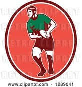 Vector Clip Art of Retro Male Rugby Player Passing the Ball in a Maroon White and Pink Oval by Patrimonio