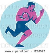 Vector Clip Art of Retro Male Rugby Player Running and Fending in a Blue Circle by Patrimonio