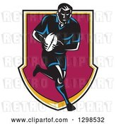 Vector Clip Art of Retro Male Rugby Player Running and Passing in a Shield by Patrimonio