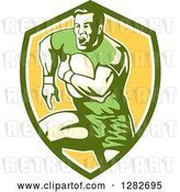 Vector Clip Art of Retro Male Rugby Player Running in a Green White and Yellow Shield by Patrimonio