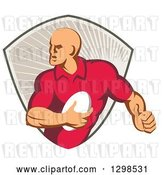 Vector Clip Art of Retro Male Rugby Player Running in a Taupe Ray Shield by Patrimonio