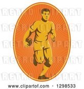 Vector Clip Art of Retro Male Rugby Player Running in an Orange Sunshine Oval by Patrimonio
