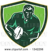 Vector Clip Art of Retro Male Rugby Player with the Ball Inside a Yellow Green and White Shield by Patrimonio