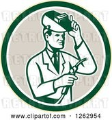 Vector Clip Art of Retro Male Scientist Welding in a Yellow Green White and Taupe Circle by Patrimonio