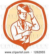 Vector Clip Art of Retro Male Scientist Welding in an Orange and White Shield by Patrimonio