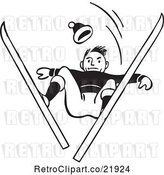 Vector Clip Art of Retro Male Skier Catching Air and Looking down by BestVector