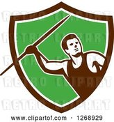 Vector Clip Art of Retro Male Track and Field Javelin Thrower in a Brown White and Green Shield by Patrimonio