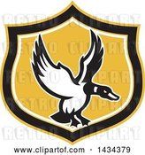 Vector Clip Art of Retro Mallard Duck Flying in a Black White and Yellow Shield by Patrimonio