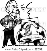 Vector Clip Art of Retro Man and Car with a Flat Tire by BestVector