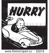 Vector Clip Art of Retro Man Driving on a Hurry Advertisement by BestVector