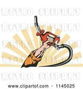 Vector Clip Art of Retro Mans Hand Holding a Gas Fuel Nozzle over Rays by Patrimonio
