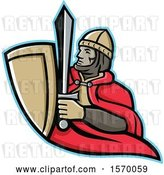 Vector Clip Art of Retro Mascot of a Medieval King Holding a Sword and Shield by Patrimonio