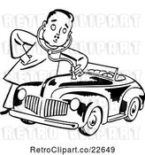Vector Clip Art of Retro Mechanic Guy Giving a Car a Check up by BestVector