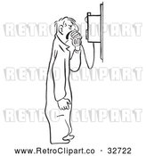 Vector Clip Art of Retro Mechanic Shouting into a Phone by Picsburg