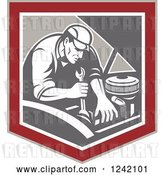 Vector Clip Art of Retro Mechanic Working on an Engine in a Shield by Patrimonio