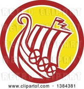 Vector Clip Art of Retro Medieval Viking Ship Longboat in a Brown White and Yellow Circle by Patrimonio