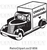 Vector Clip Art of Retro Men Driving a Careful Dependable Delivery Truck by BestVector