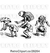 Vector Clip Art of Retro Men Playing Leap Frog by Prawny Vintage