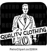 Vector Clip Art of Retro Mens Quality Clothing Sign by BestVector