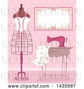 Vector Clip Art of Retro Metal Frame Mannequin by a Sewing Machine and Dress Fabric in a Pink Room by BNP Design Studio