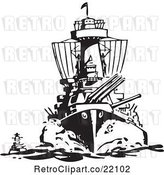 Vector Clip Art of Retro Military Ship by BestVector