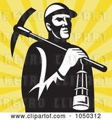 Vector Clip Art of Retro Miner Carrying a Pickax and Lantern by Patrimonio