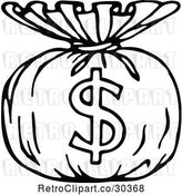 Vector Clip Art of Retro Money Sack with a Dollar Symbol by Prawny Vintage
