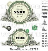 Vector Clip Art of Retro Money Themed Labels and Numbers with Sample Text by BestVector