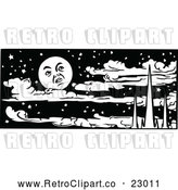 Vector Clip Art of Retro Moon over Mountains and Clouds in a Night Sky by Prawny Vintage