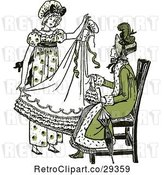 Vector Clip Art of Retro Mother and Daughter Sewing a Dress in Green Tones by Prawny Vintage