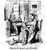 Vector Clip Art of Retro Mother Braiding Her Daughters Hair As Father Reads by Prawny Vintage