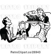 Vector Clip Art of Retro Mother Serving Roasted Turkey by Prawny Vintage