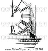 Vector Clip Art of Retro Mouse by a Clock by Prawny Vintage