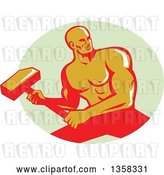Vector Clip Art of Retro Muscular Male Bodybuilder Athlete Swinging a Sledgehammer in a Pastel Green Oval by Patrimonio