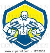 Vector Clip Art of Retro Muscular Male Bodybuilder with Dumbbells in a Blue White and Yellow Shield by Patrimonio