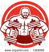 Vector Clip Art of Retro Muscular Male Bodybuilder with Dumbbells in a Red and White Circle by Patrimonio