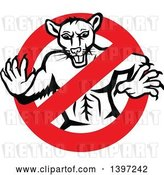 Vector Clip Art of Retro Muscular Rat in a Prohibited Symbol by Patrimonio