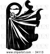 Vector Clip Art of Retro Mysterious Male Vampire Standing Below a Full Moon with His Cape Flapping in the Wind by Lawrence Christmas Illustration