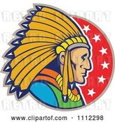 Vector Clip Art of Retro Native American Indian Chief Guy in Profile over a Circle of Stars by Patrimonio