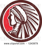 Vector Clip Art of Retro Native American Indian Chief in Profile in a Circle by Patrimonio