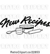 Vector Clip Art of Retro New Recipes Text over Baking Items by Prawny Vintage