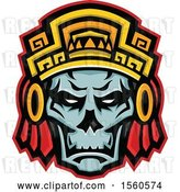 Vector Clip Art of Retro Noble Aztec Warrior Skull Wearing Wood Headdress by Patrimonio