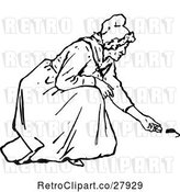 Vector Clip Art of Retro Old Lady Feeding Mice by Prawny Vintage