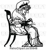 Vector Clip Art of Retro Old Lady Knitting by Prawny Vintage