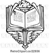 Vector Clip Art of Retro Open Book over Wings and a Torch by Prawny Vintage