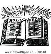 Vector Clip Art of Retro Open Holy Bible Book by Prawny Vintage