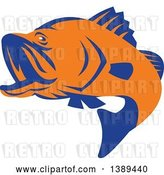 Vector Clip Art of Retro Orange and Blue Barramundi Asian Sea Bass Fish Jumping by Patrimonio