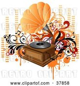 Vector Clip Art of Retro Orange and Wooden Phonograph Playing Music, with Orange and Red Vines, Circles and Equalizer Bars by OnFocusMedia