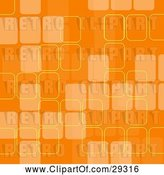 Vector Clip Art of Retro Orange Background with Faded Squares and Yellow Outlines by KJ Pargeter