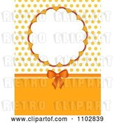 Vector Clip Art of Retro Orange Bow with a Round Frame and Polka Dots by Elaineitalia